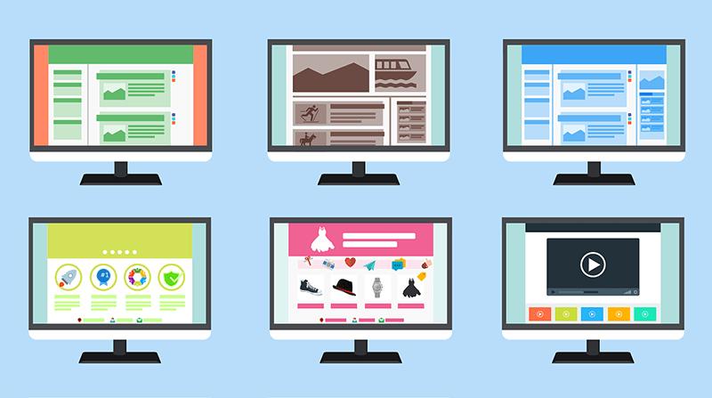 ディスプレイに映る様々な種類のウェブサイトのイラスト