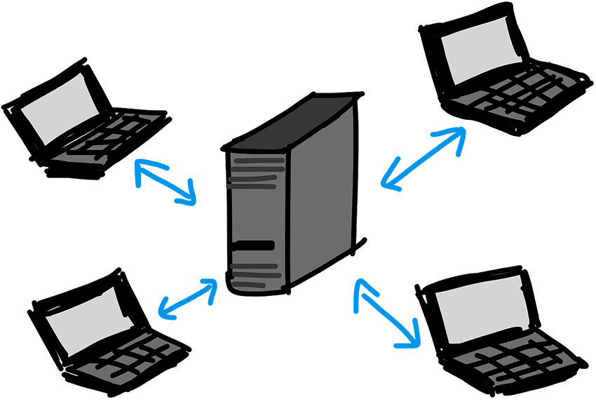 クライアントサーバシステムを描いたイラスト