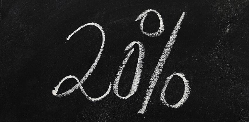黒板に書かれた20%の文字