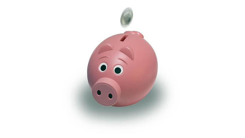 豚の貯金箱にコインを入れる